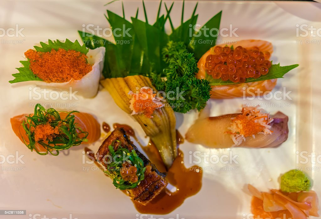 Top down view of Japanese sushi platter with salmon stock photo