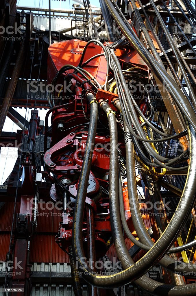 Top drive on an offshore oil rig stock photo