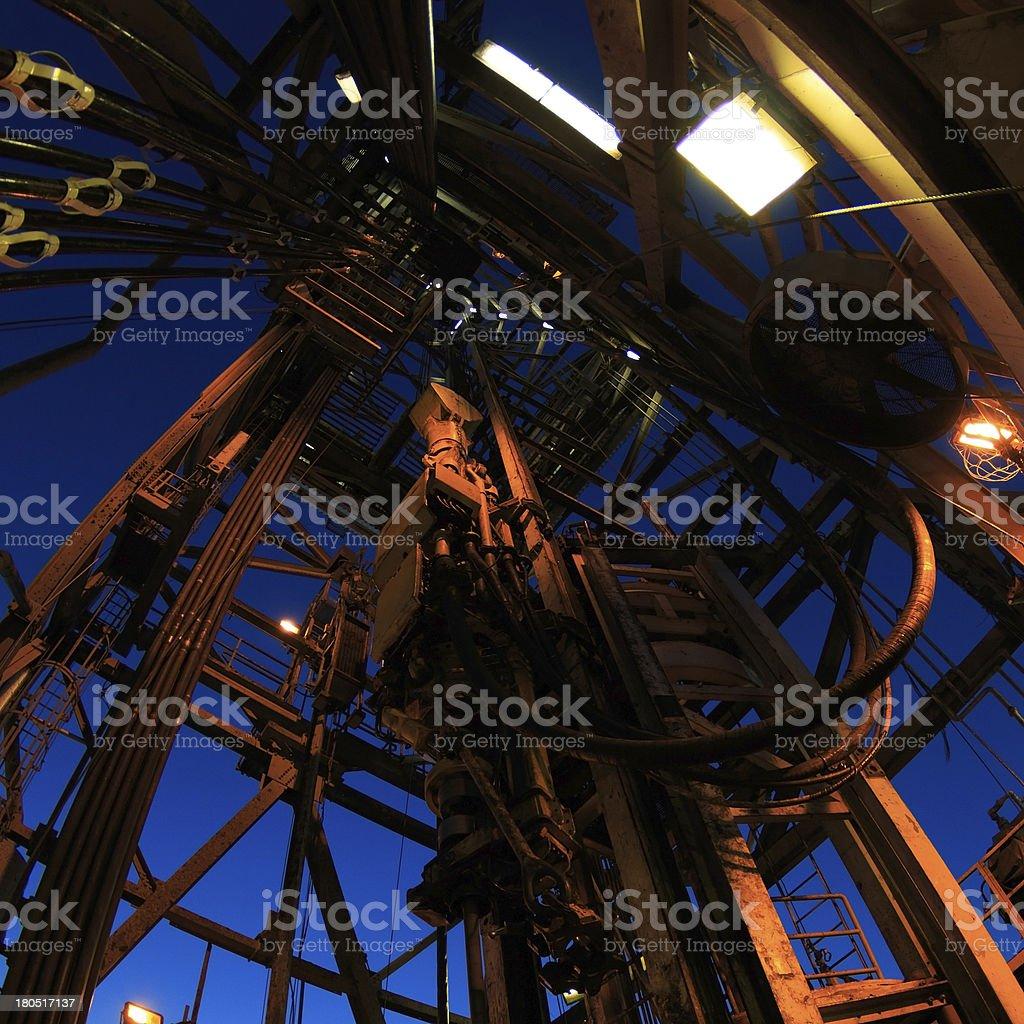 Top Drive System and Drilling Rig Derrick stock photo