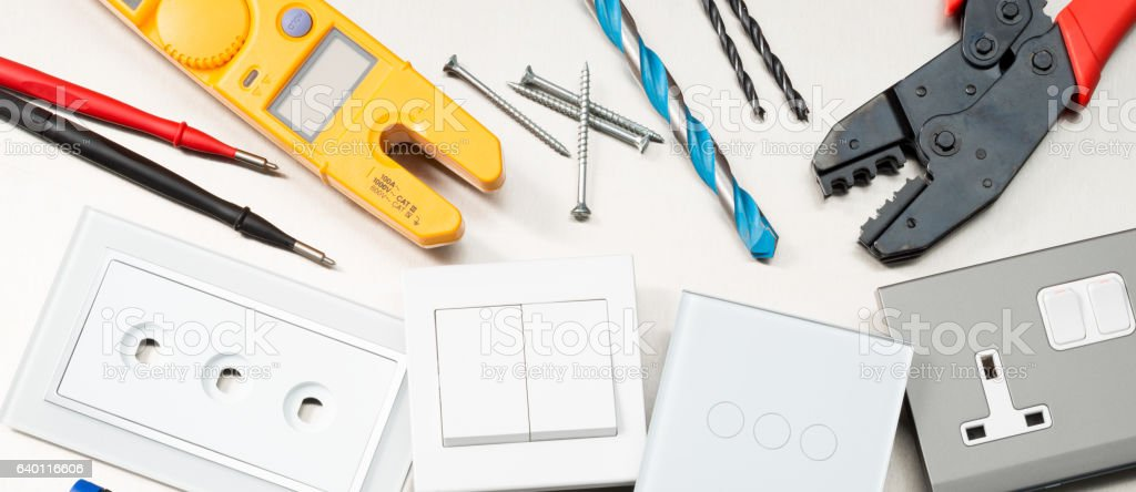 Top electrical tools banner stock photo