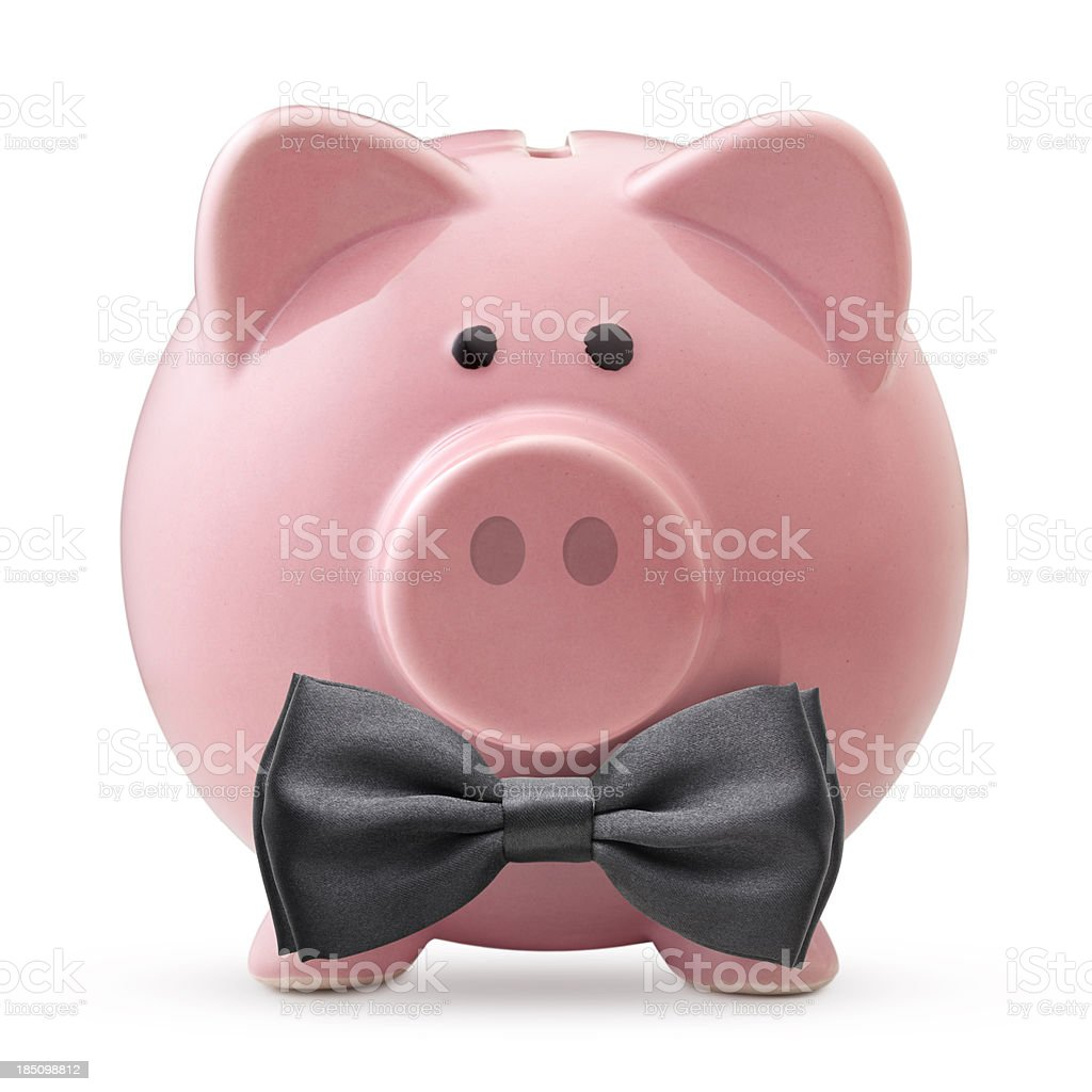 Top financial. Piggy bank with black bow tie. royalty-free stock photo