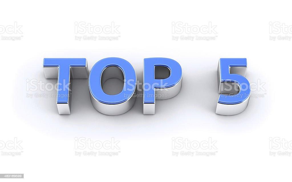 Top five text 3d render stock photo
