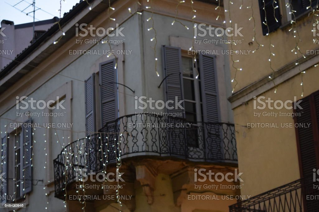 Top floor of a corner house in an XVIII century building during Christmas Holydays stock photo