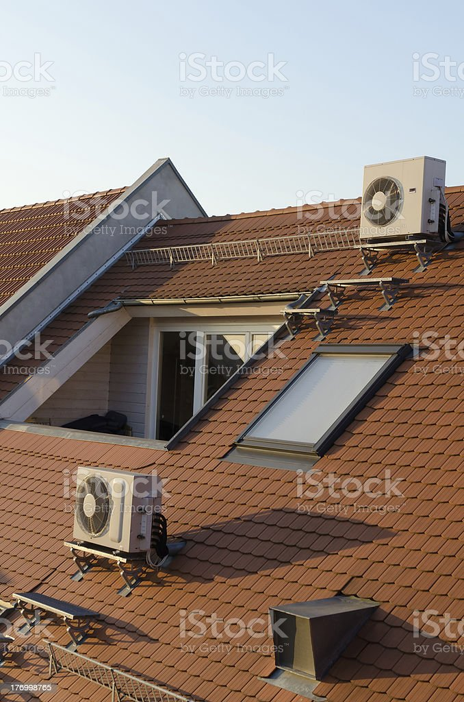 Top floor with air conditioning stock photo