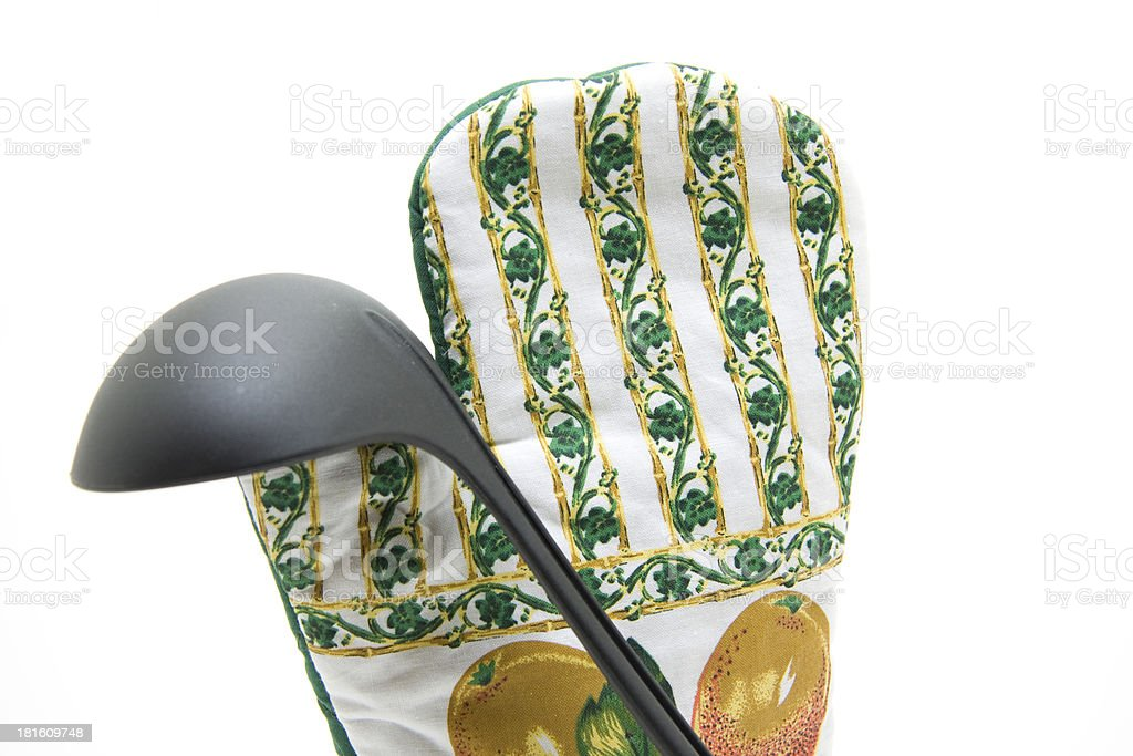 Top gloves with soup spoon royalty-free stock photo