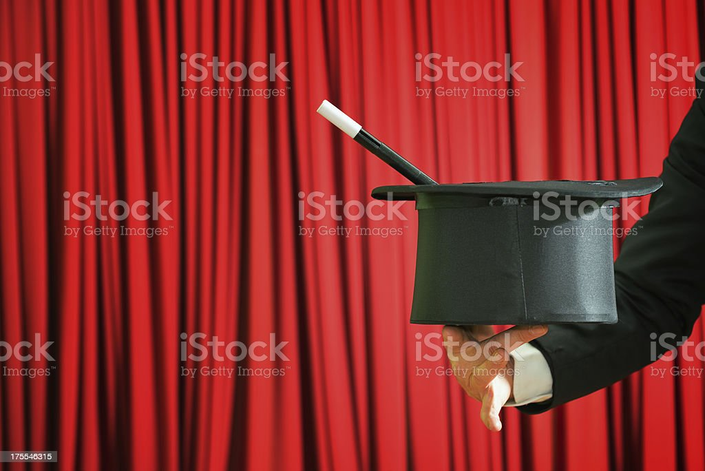 Top hat and magic wand stock photo