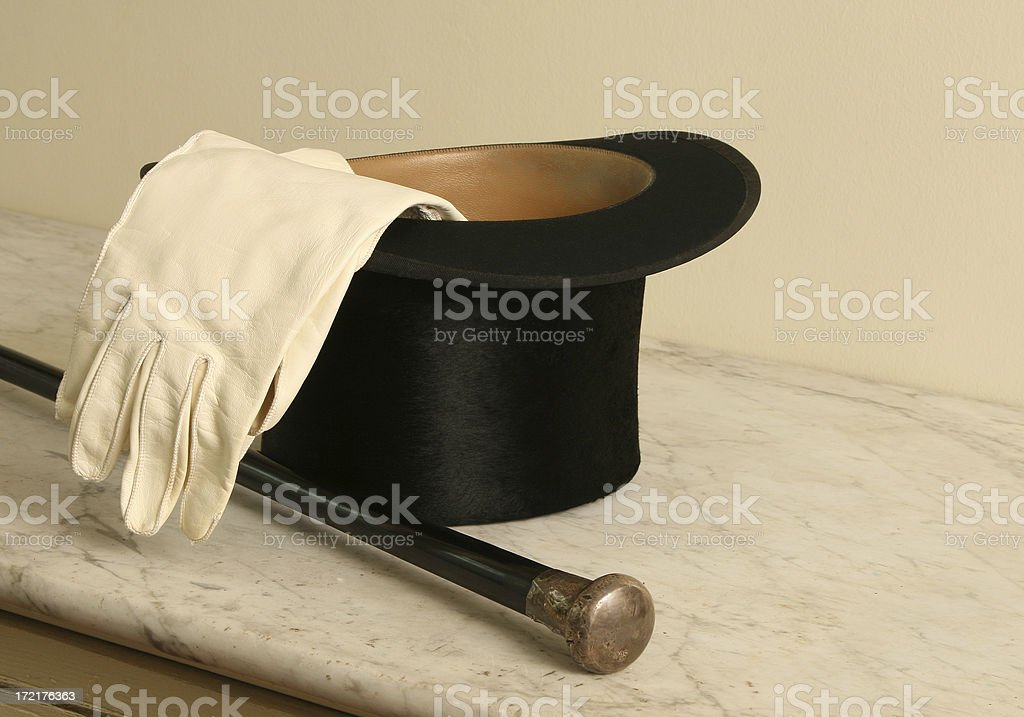 Top Hat, Cane and Gloves stock photo