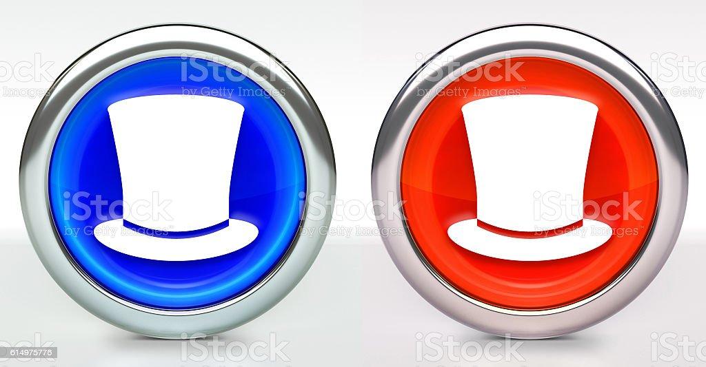 Top Hat Icon on Button with Metallic Rim stock photo