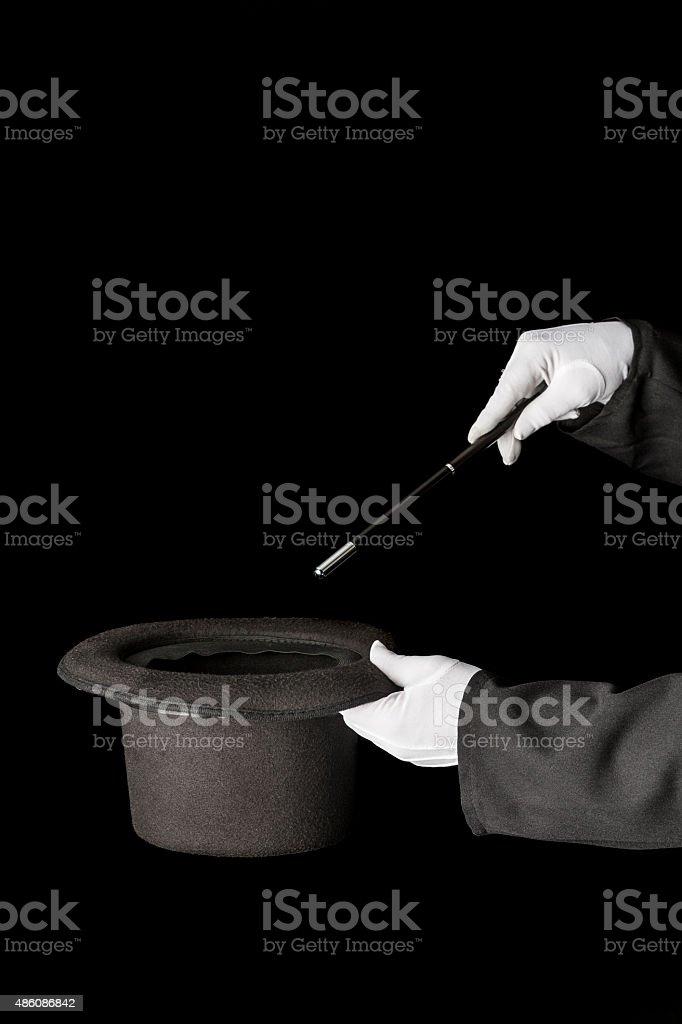 Top hat magician trick stock photo