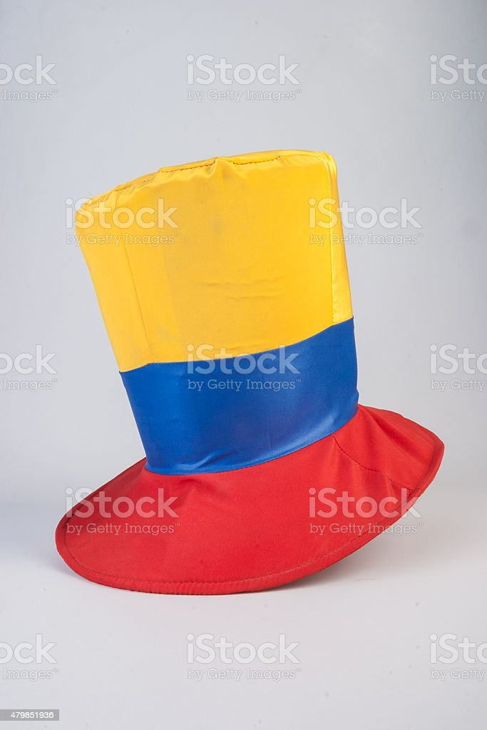 top hat with colombian flag colors stock photo
