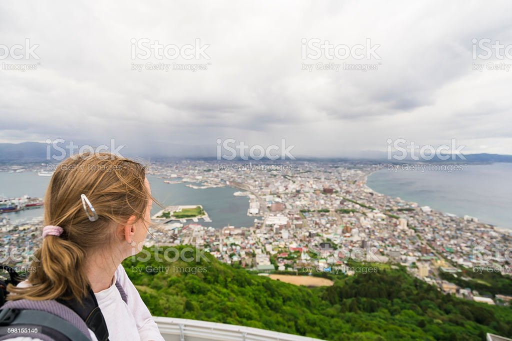 Top look of Roofs from Hakodate on Hokkaido, Japan stock photo