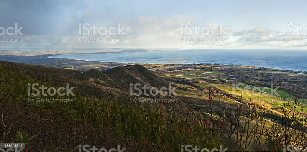 Top mountain Panorama - Gaspe Peninsula stock photo