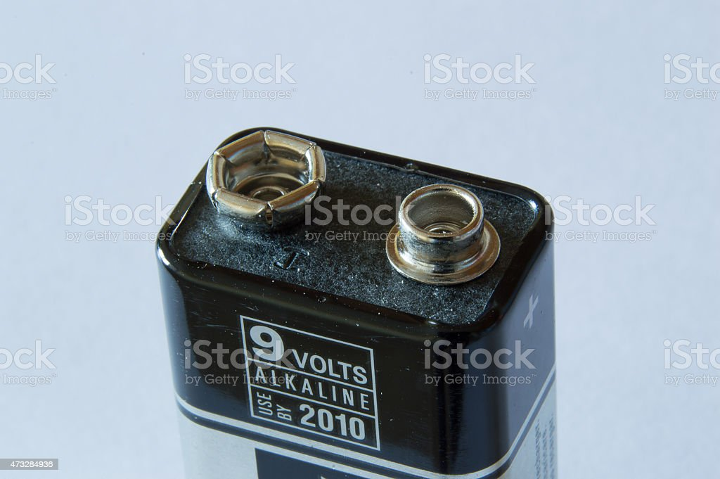 Top of a 9 volt battery stock photo