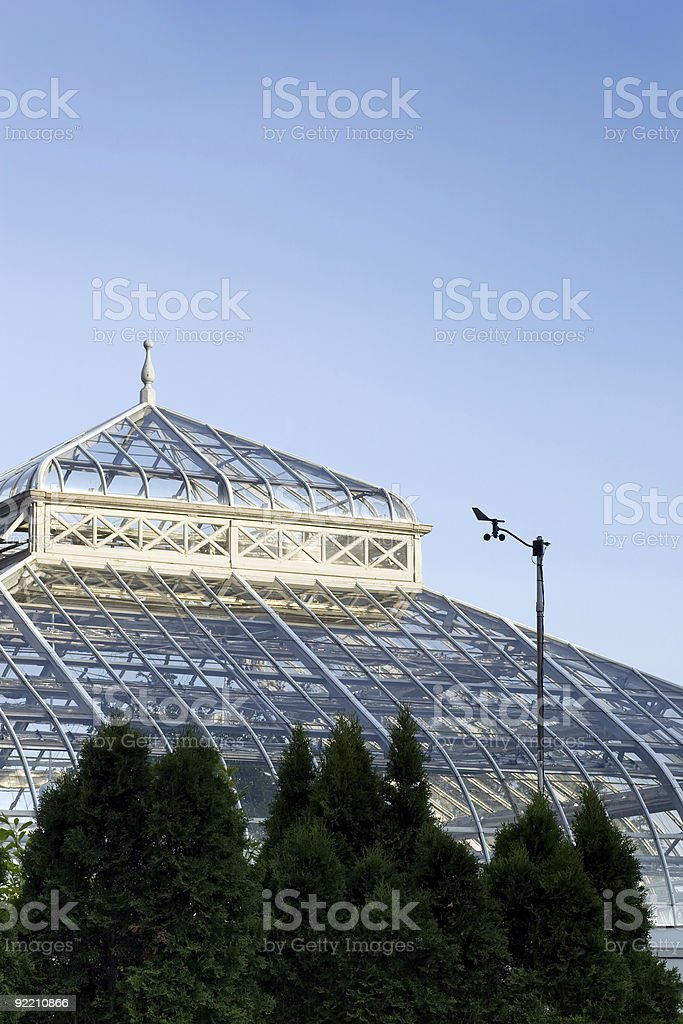 Top of a greenhouse stock photo