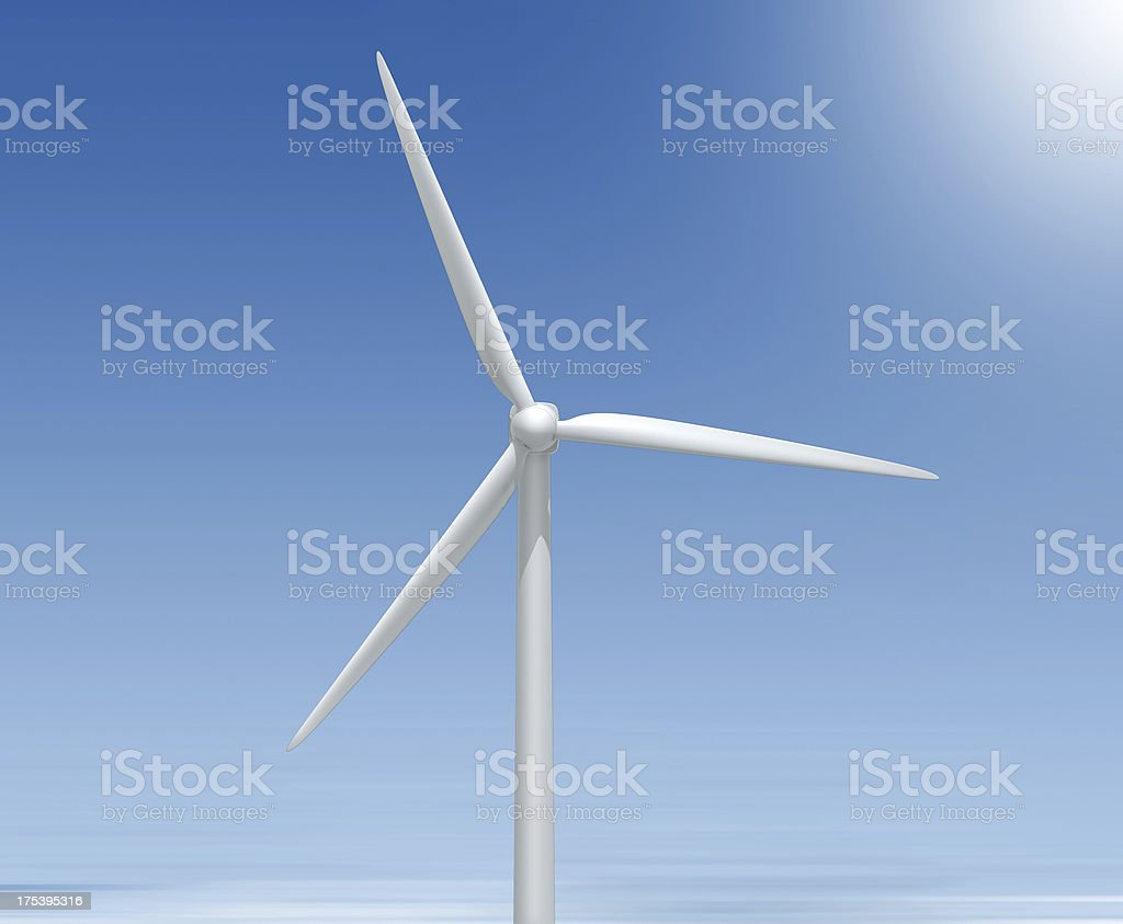 Top of a wind turbine electrical generator stock photo