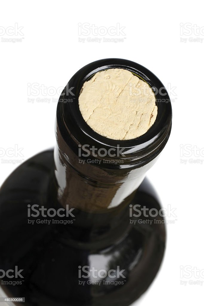 Top of a wine bottle stock photo
