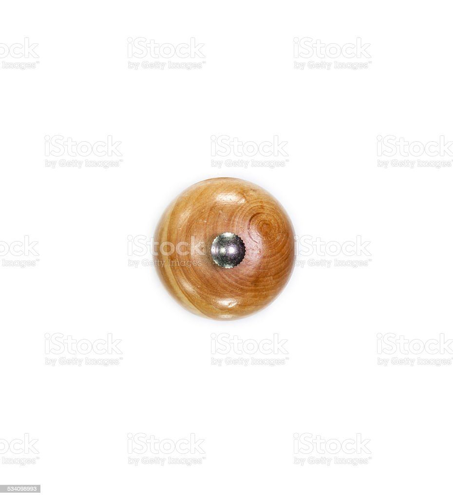 Top of a wooden pepper mill stock photo