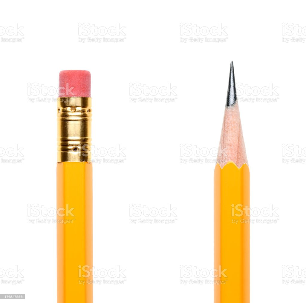Top of a yellow pencil and the bottom of another stock photo