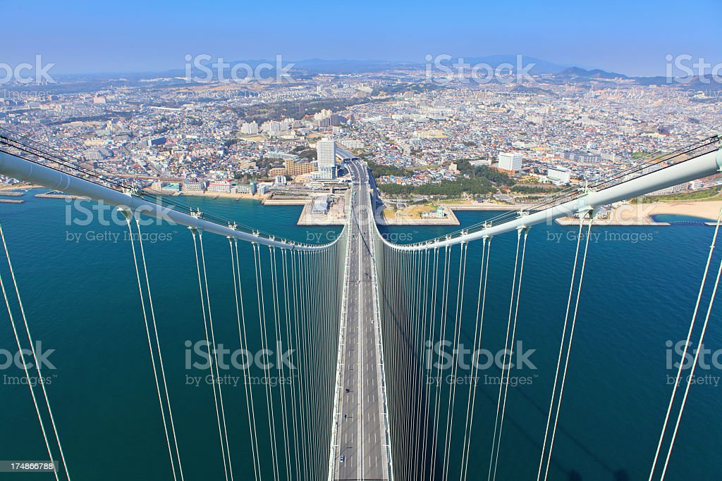 top of Akashi Kaikyo Bridge royalty-free stock photo