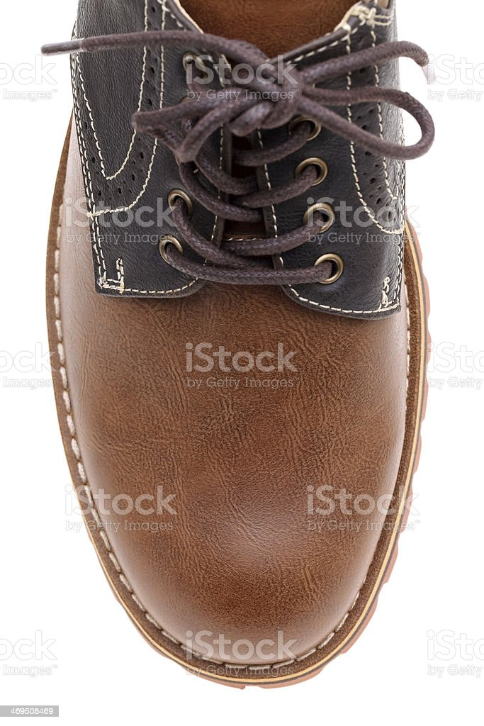 top of brown leather shoe stock photo