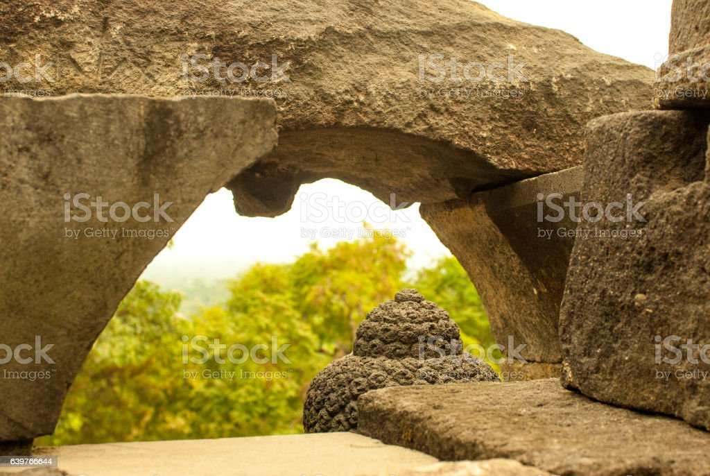 Top of Buddhas head and arch stock photo