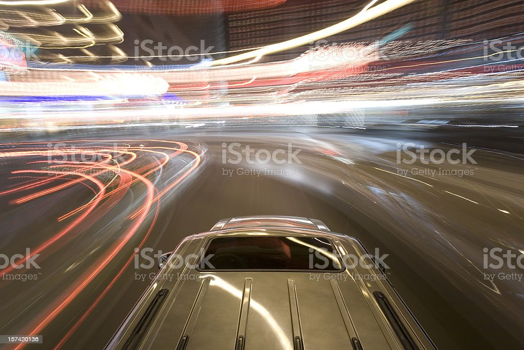 Top of car in turn stock photo