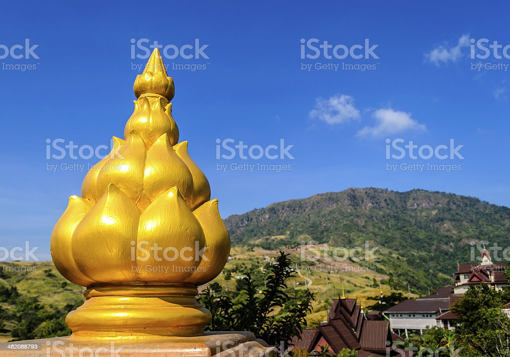 Top of Column at Phasornkaew Temple stock photo