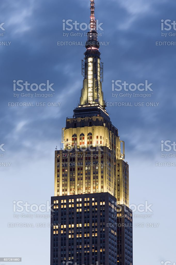 Top of Empire State Building lights on New Year's eve stock photo