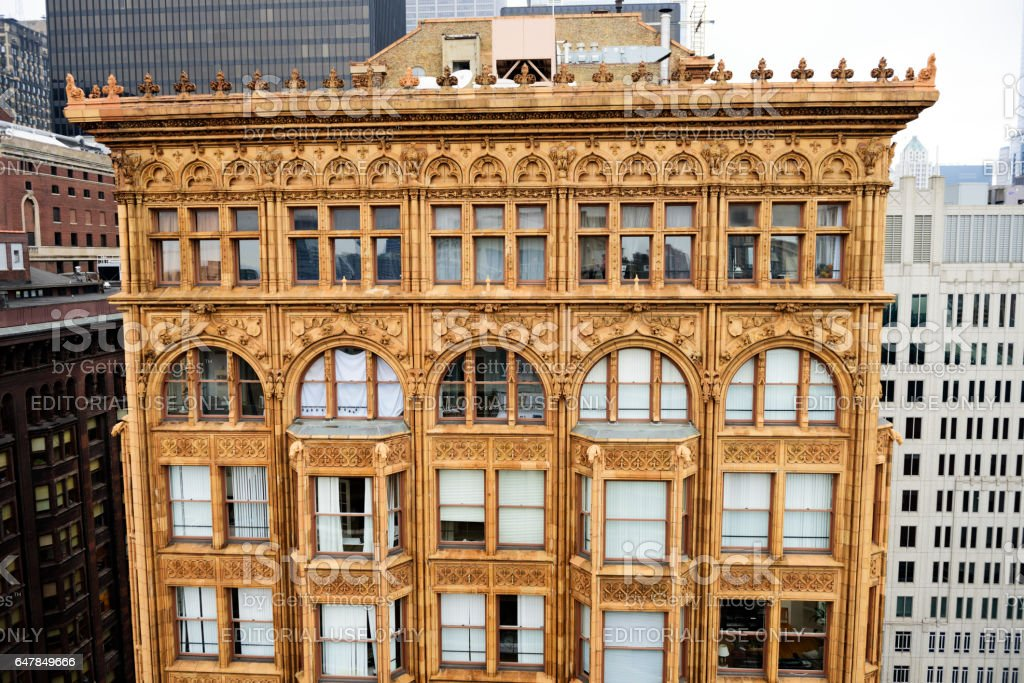 Top of Fisher Building, downtown Chicago stock photo