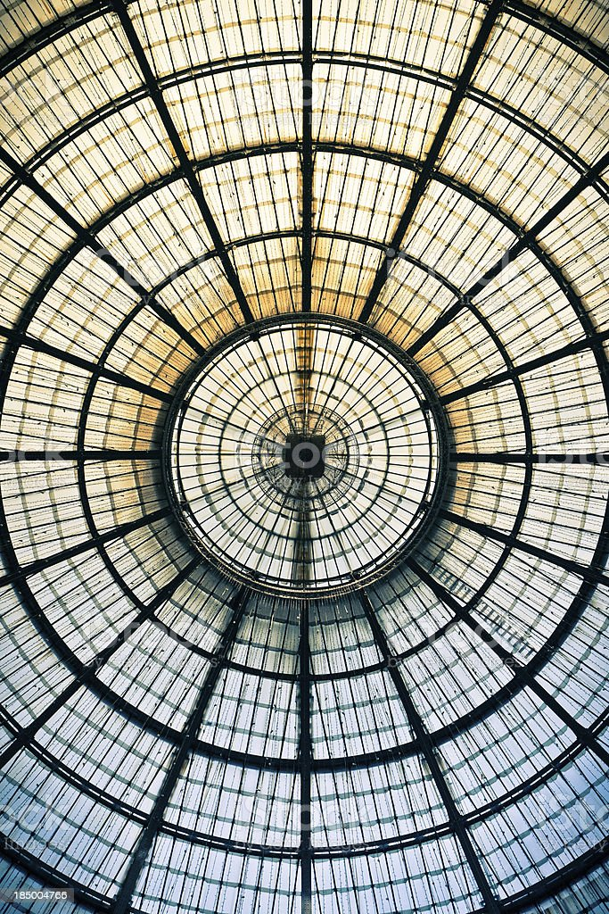 Top of Galleria Vittorio Emanuale II in Milan, Italy royalty-free stock photo