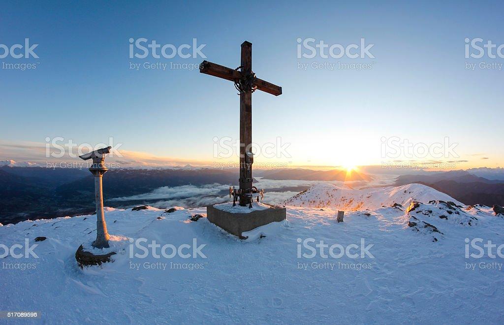 Top Of Gold Corner Sunrise 2.142m In Carinthia Austria stock photo