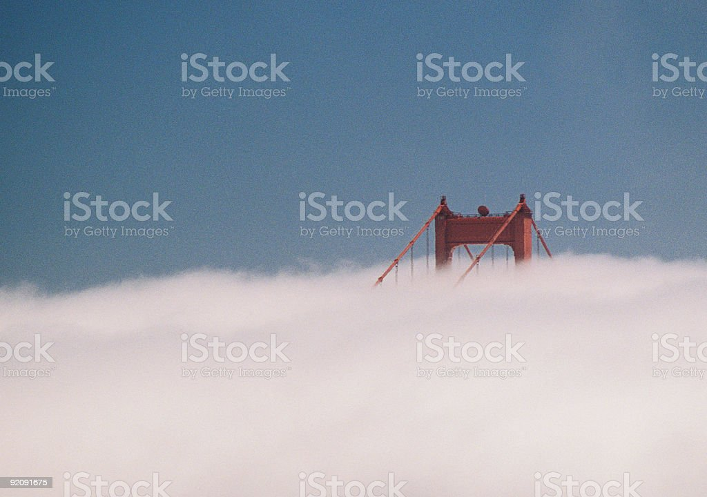 Top of Golden Gate Bridge in fog royalty-free stock photo