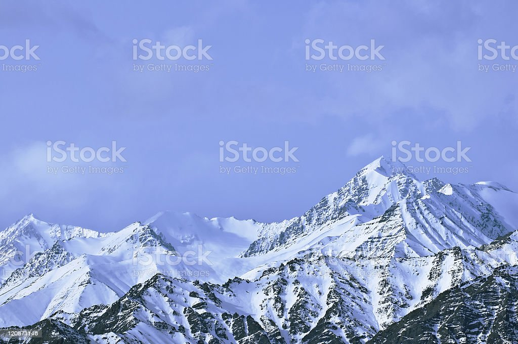Top of High mountains, covered by snow. India. royalty-free stock photo