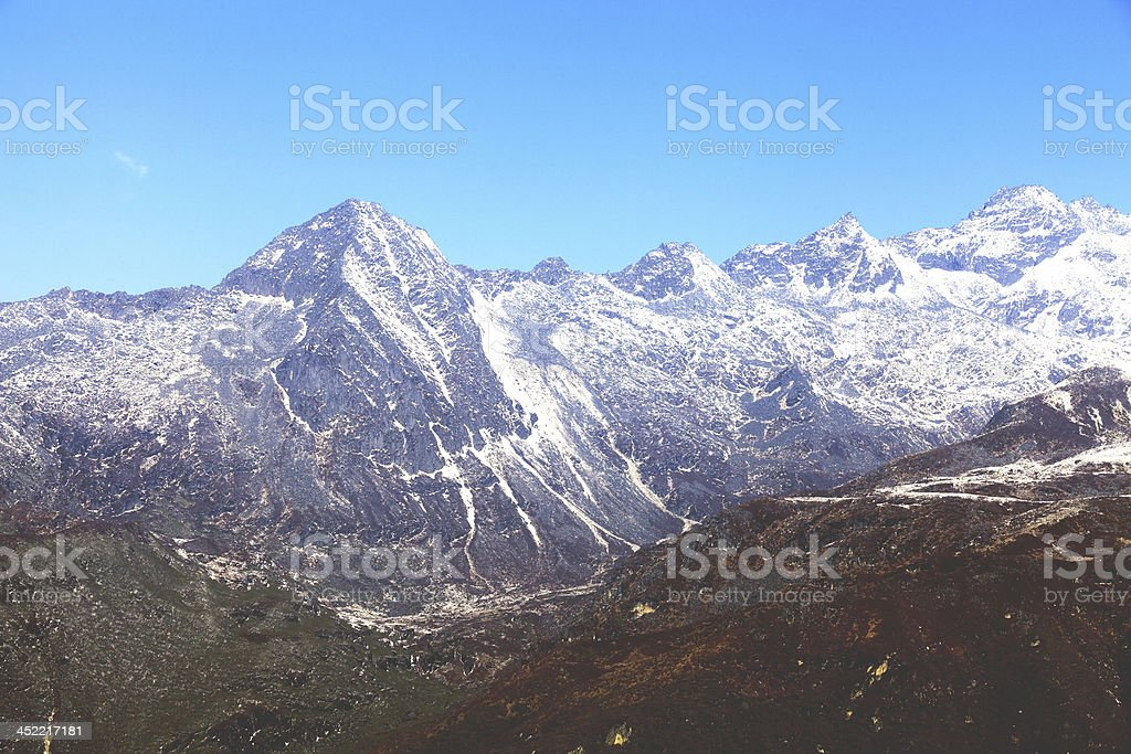 Top of High mountains, covered by snow. Kangchenjunga, India. royalty-free stock photo