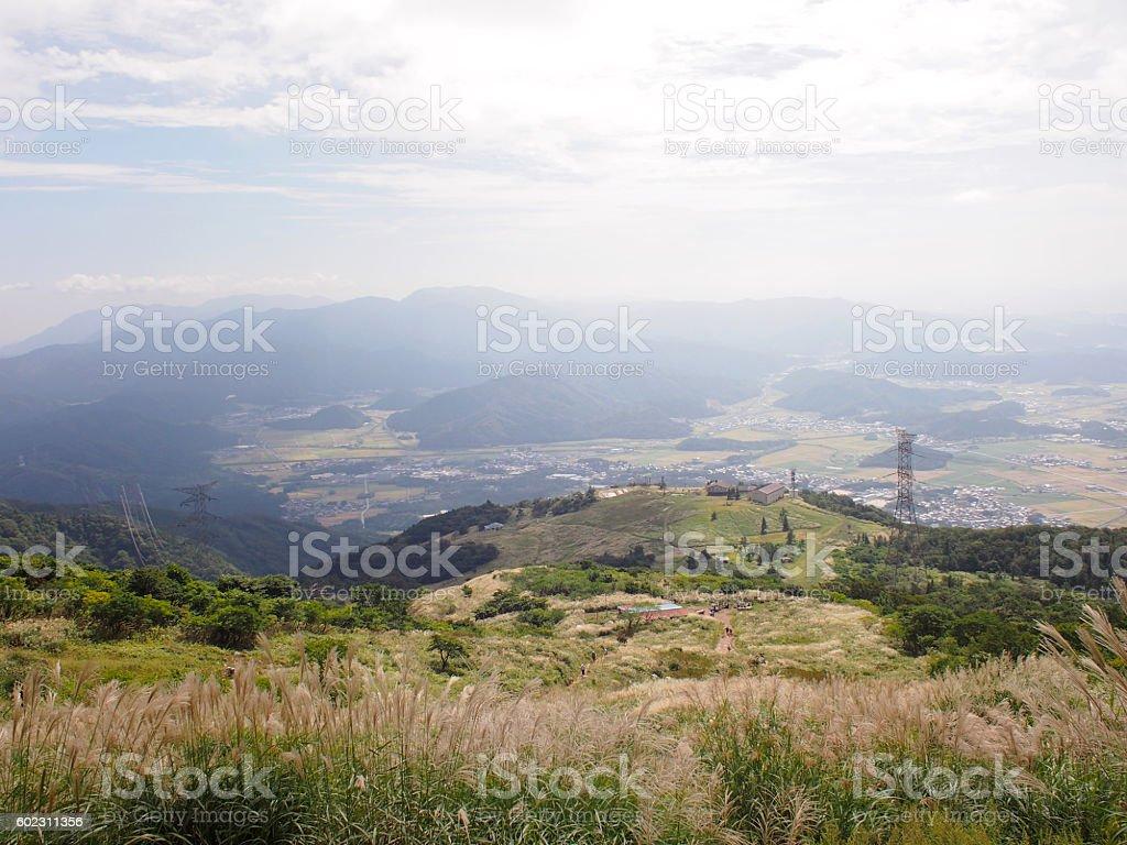 Top of Ibukiyama overlooking the city of Shiga royalty-free stock photo
