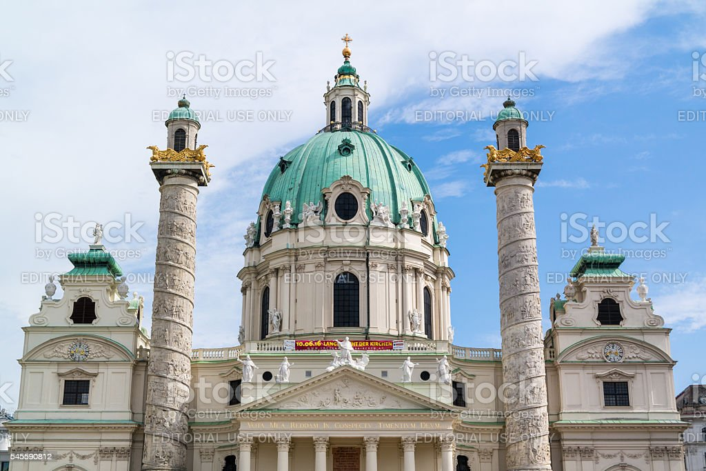 Top of Karlskirche, Charles Church in Vienna stock photo