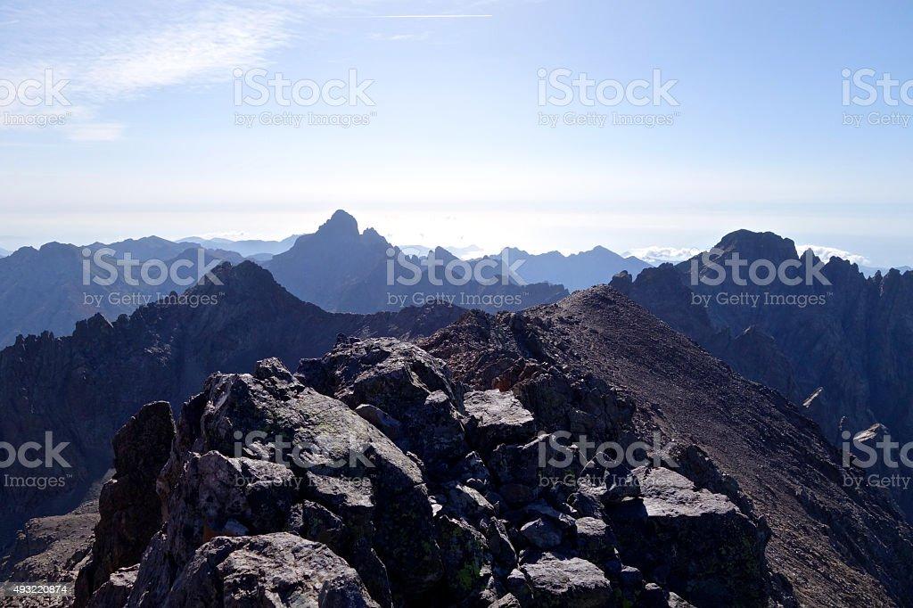 Top of monte Cinto stock photo