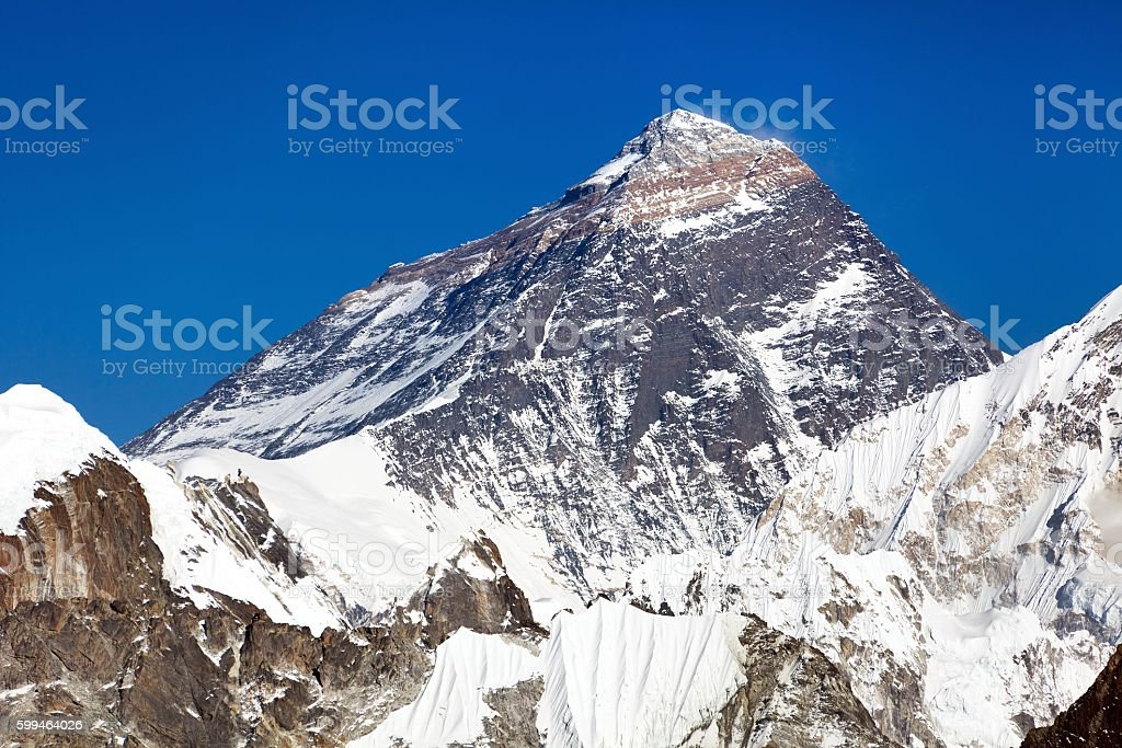 Top of Mount Everest from Gokyo valley stock photo