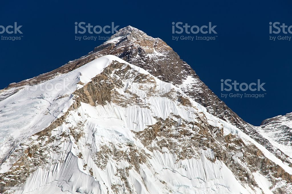 Top of Mount Everest, from mount Pumo Ri base camp stock photo