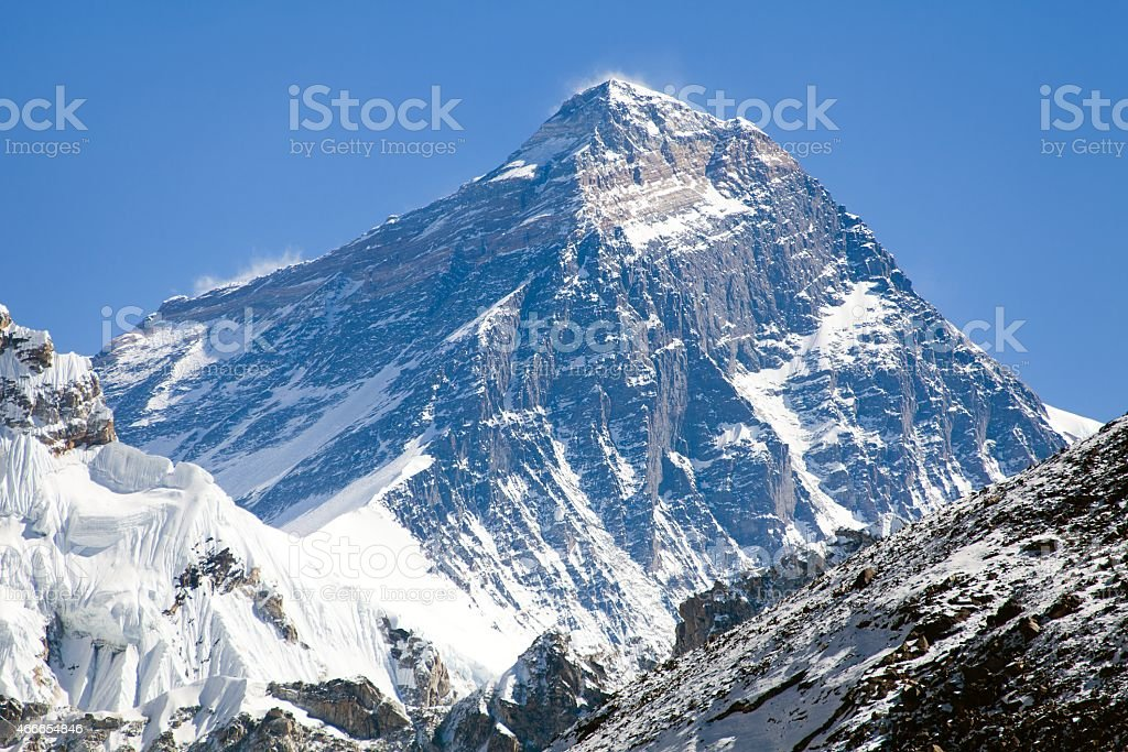Top of Mount Everest - way to Everest base camp - Nepal stock photo