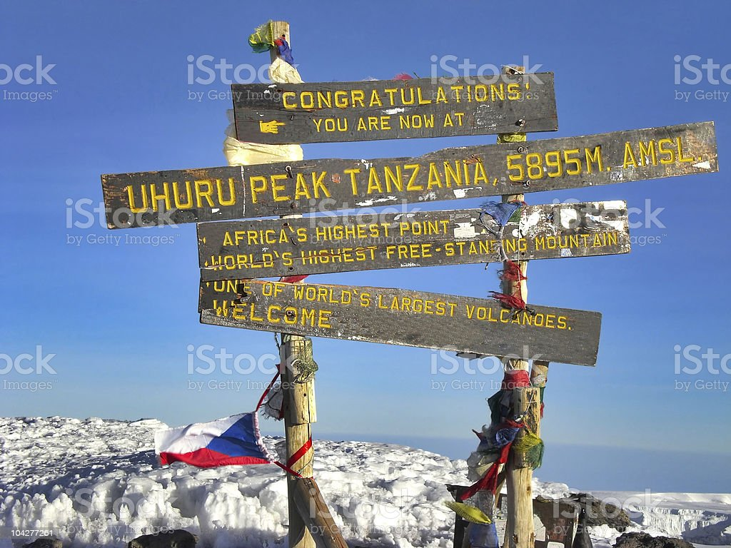 Top of Mt. Kilimanjaro, 5895 m. stock photo