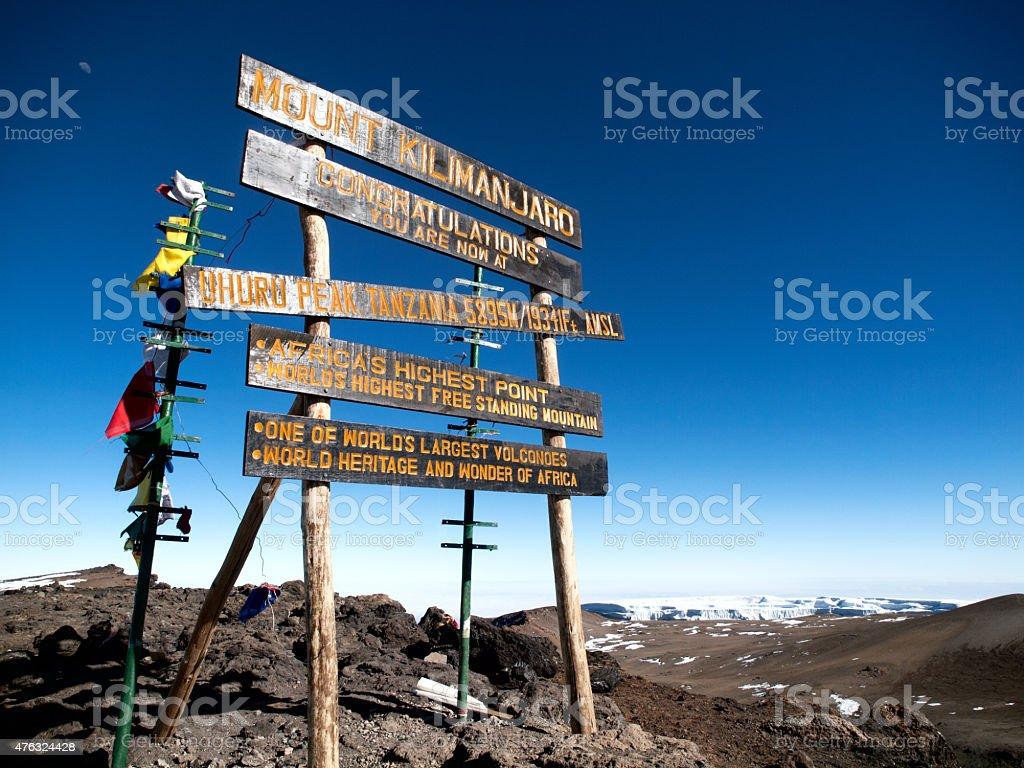 Top of Mt. Kilimanjaro - Uhuru Peak, 5895 m stock photo