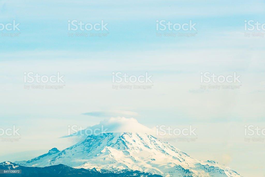 top of mt Rainier National park with cloud cap. stock photo