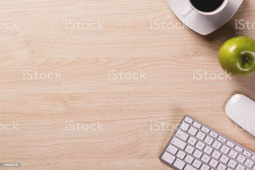 Top of office workspace. stock photo