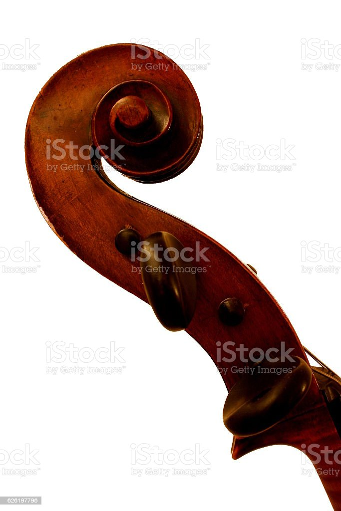 Top of old cello stock photo