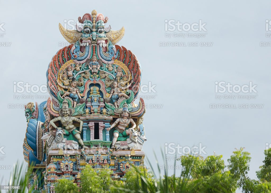 Top of one Vimanam on grounds of Meenakshi Temple. stock photo