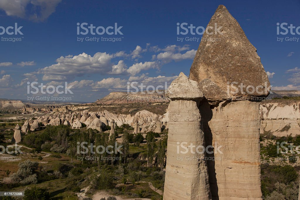 Top of prehistoric rock formations in Love velley in Turkey stock photo