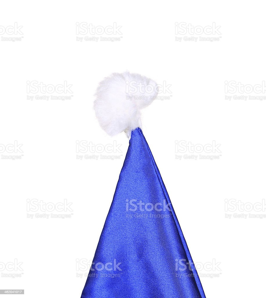 Top of Santa Claus conical blue hat. royalty-free stock photo