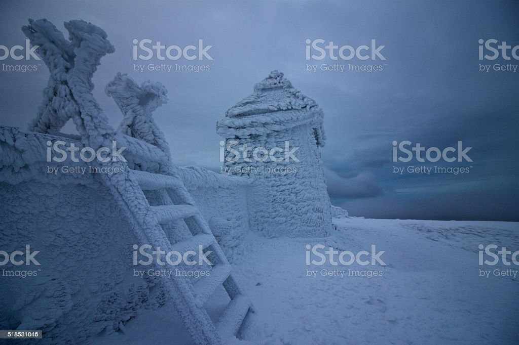 Top of Slieve Commedagh in the snow stock photo