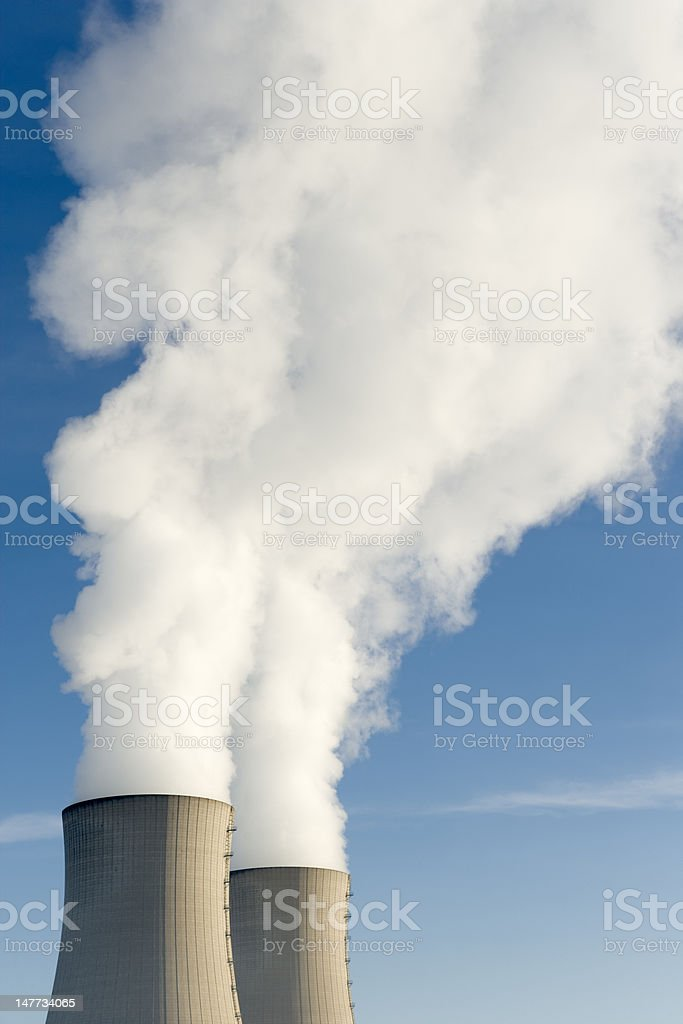 Top of steaming cooling towers (XXL) royalty-free stock photo